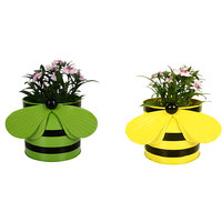 TrustBasket Set Of 2 - Bee Planters Yellow And Green