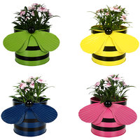 TrustBasket Set Of 4 - Bee Planters Green,Yellow,Blue And Pink