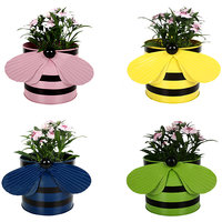 TrustBasket Set Of 4 - Bee Planters Light Pink,Yellow,Blue And Green