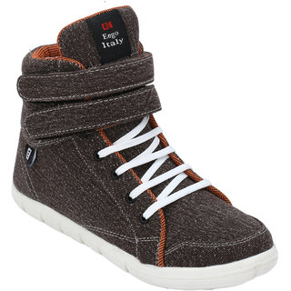 Eego Italy MenS Brown Lace-Up Sneakers Shoes (THAKUR-1-BROWN)