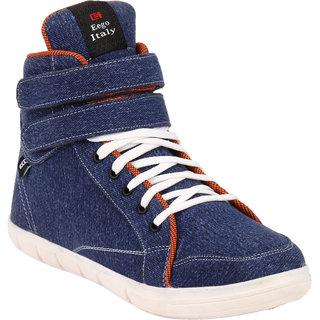 Eego Italy MenS Blue Lace-Up Sneakers Shoes (THAKUR-1-BLUE)