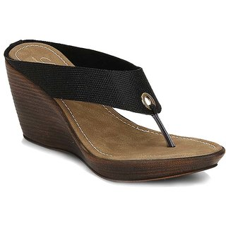 La Mere WomenS Black Party Slip On Heel Sandals (LA-382)