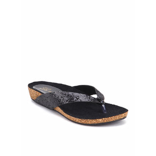 La Mere WomenS Black Casual Slip On Heel Sandals (LA-519)