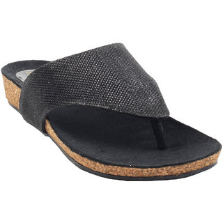La Mere WomenS Black Casual Slip On Heel Sandals (LA-533)