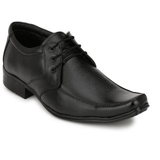 Pureits Leathers MenS Black Lace-Up Casuals Shoes (PUREITS-A-9081-BLACK)