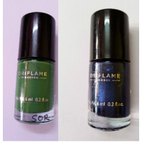 Ori Flame Pure Colour Nail Polish Mini (Serene Green,Midnight Blue)Set Of 2