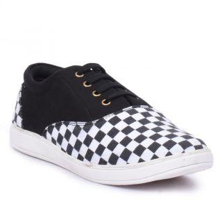 Jovelyn Black  White Canvas Shoes J8003