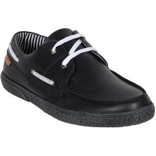 Numero Uno MenS Black Lace-Up Boat Shoes (NUSM-486-BLACK)