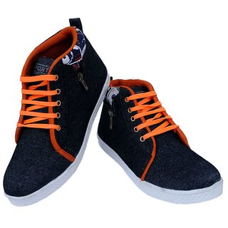 Johny Black And Orange Color Casual Shoe
