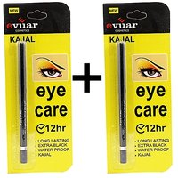 EVUAR KAJAL Pack Of 2 12hr Eye Care Long Lasting  Extra Black Waterproof Free Liner  Rubber Band