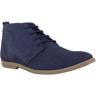 Chex MenS Blue Suede Leather Casual Lace-Up Shoes (CHX13002BLUA) - 91888354