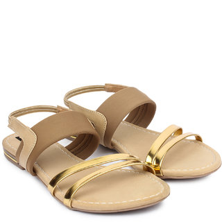 Do Bhai WomenS Brown Casual Round Toe Sandals (Lycra-Sandal-BrownGolden)