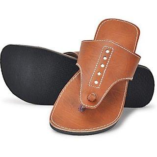 Ethnic Brown Leather Slipper For Men