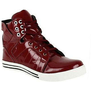 Jorden Patent High Ankle Sneakers Ocassion Casual Color Mahroon