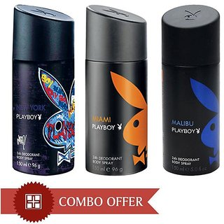 Playboy Men Deos Pack of 3(Malibu, Miami, New York)-150 ml