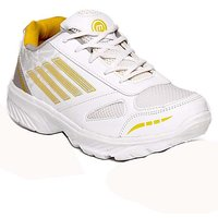 Micato MenS White  Yellow Sports Shoes (HERO-WHITE-YELLOW)