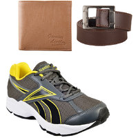 Reebok Grey And Yellow Running Sports Shoes With Fast Fox Belt And Wallet