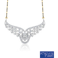 0.77ct Natural White Diamond Mangalsutra 925 Sterling Silver Mangalsutra M-0044