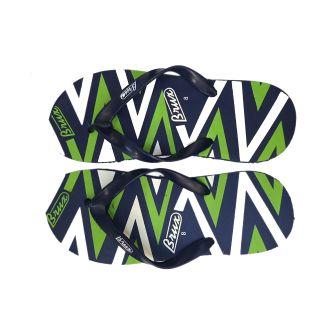Brux MenS Blue  Green Flip Flops (Bruxx-Zig-Zag-Navy-Green)