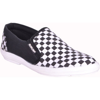 Sukun MenS Black,White Casual Slip On Shoes (CHS1BLKWT)