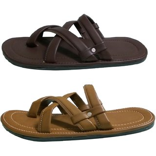 Gina Vinci Mens Dark Brown / Light Brown Flip Flops - Slippers