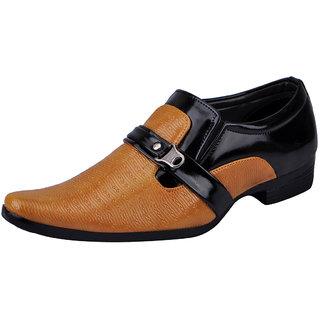 Fausto MenS Beige Formal Slip On Shoes (FST K6054 BEIGE BLACK)