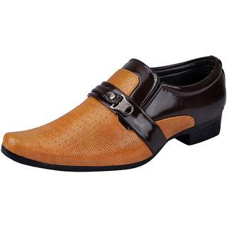 Fausto MenS Beige Formal Slip On Shoes (FST K6054 BEIGE BROWN)