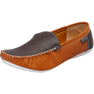 Fausto MenS Brown Casual Loafers (FST 1004 TAN BROWN)