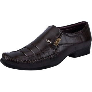 Fausto MenS Brown Formal Slip On Shoes (FST K6072 BROWN)