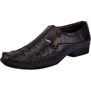 Fausto MenS Brown Formal Slip On Shoes (FST K6072 BROWN)