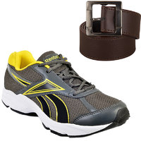 Reebok Grey And Yellow Running Sports With Fast Fox Synthetic Leather Belt