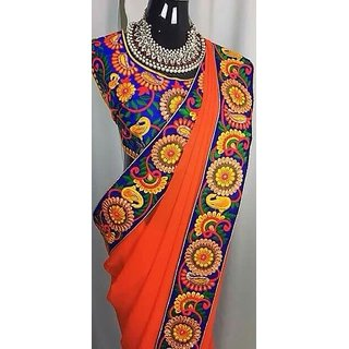 Buy Orange Georgette With Kutch Work Blouse Online 1950 From