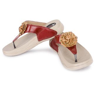 Pure Women's Red Stylish And Trendy Slippers