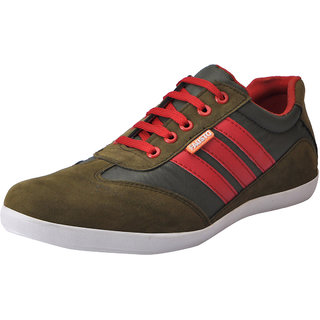 Fausto MenS Green Sneakers Lace-Up Shoes (FST 7032 GREEN)