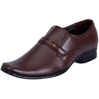 Fausto MenS Brown Formal Slip On Shoes (FST 1029 BROWN)