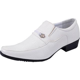 Fausto MenS White Formal Slip On Shoes (FST 1606 WHITE)