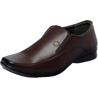 Fausto MenS Brown Formal Slip On Shoes (FST 1617 BROWN)