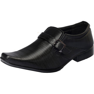 Fausto MenS Black Formal Slip On Shoes (FST 1625 BLACK)