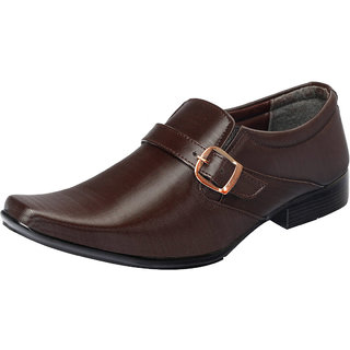Fausto MenS Brown Formal Slip On Shoes (FST 1625 BROWN)