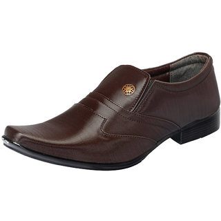 Fausto MenS Brown Formal Slip On Shoes (FST 1626 BROWN)