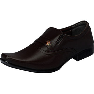 Fausto MenS Brown Formal Slip On Shoes (FST 1628 BROWN)