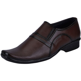 Fausto MenS Brown Formal Slip On Shoes (FST 3209 BROWN)