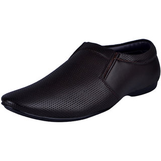 Fausto MenS Brown Formal Slip On Shoes (FST 3214 BROWN)