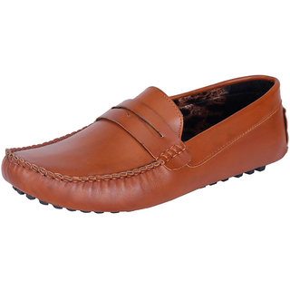 Fausto MenS Brown Casual Loafers (FST 111 TAN)