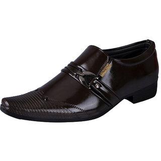 Fausto MenS Brown Formal Slip On Shoes (FST K6056 BROWN)