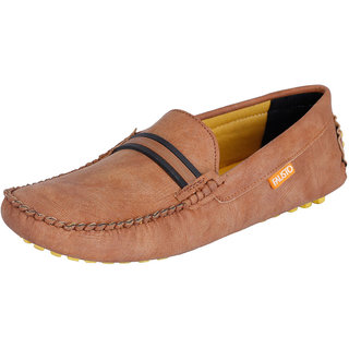 Fausto MenS Brown Casual Loafers (FST 737 TAN)