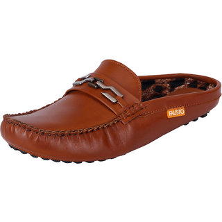 Fausto MenS Brown Casual Loafers (FST 780 TAN)