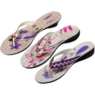IndiWeaves Womens Purple  Pink  Purple Casual Slippers (Pack Of 3 Pair) (870060709-IW)