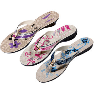IndiWeaves Womens Purple  Pink  Blue Casual Slippers (Pack Of 3 Pair) (870060710-IW)