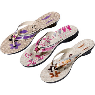 IndiWeaves Womens Purple  Pink  Brown Casual Slippers (Pack Of 3 Pair) (870060712-IW)